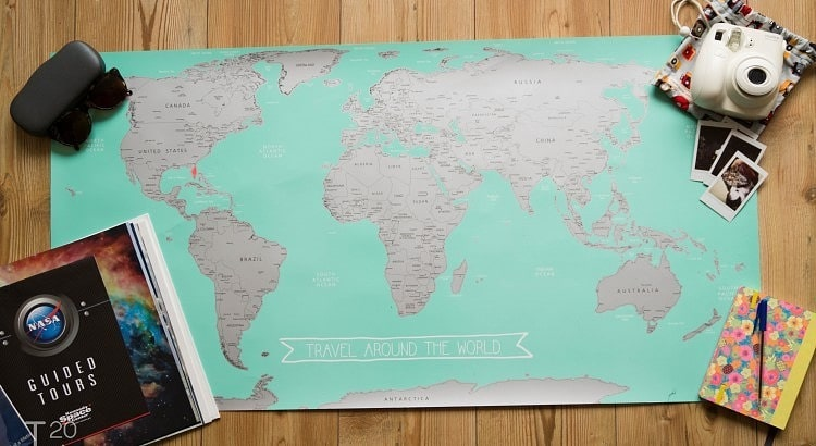 HEMA scratch off world map