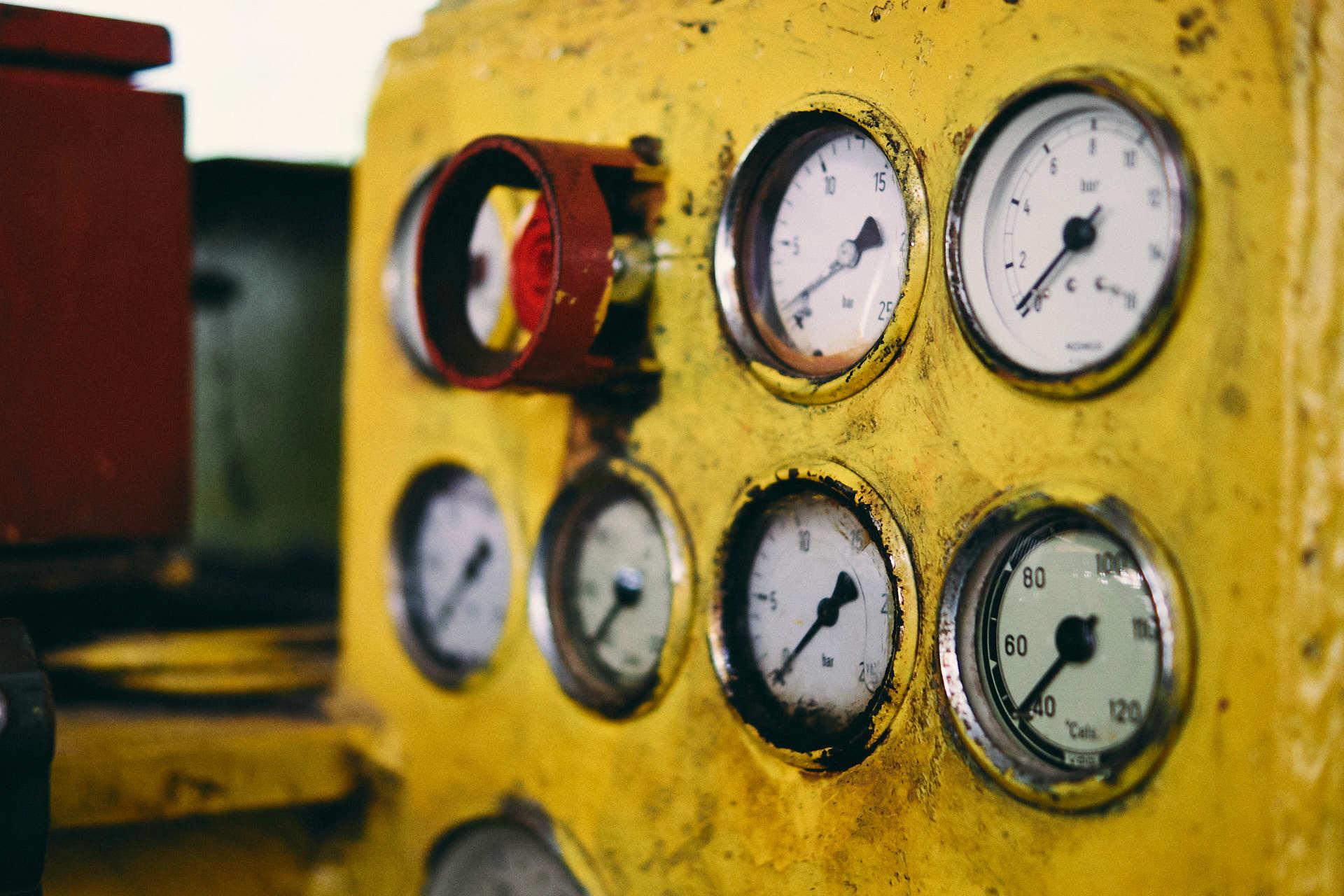 Meters mijnwerkers machine